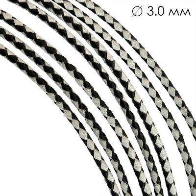 Кожаный плетеный шнур Ultra Sky 3.0 мм Черно-Белый 04