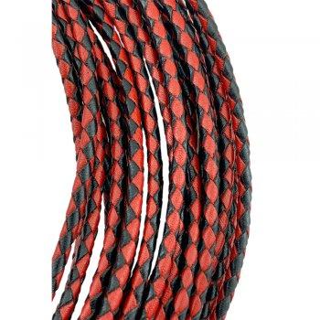 Кожаный плетеный шнур | 3.0 мм Черно-Красный 12 | 4-х полосный | UltraSky
