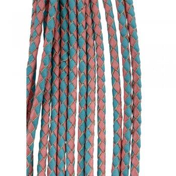 Кожаный плетеный шнур   3.0 мм Бирюзово-Розовый 09   4-х полосный   UltraSky