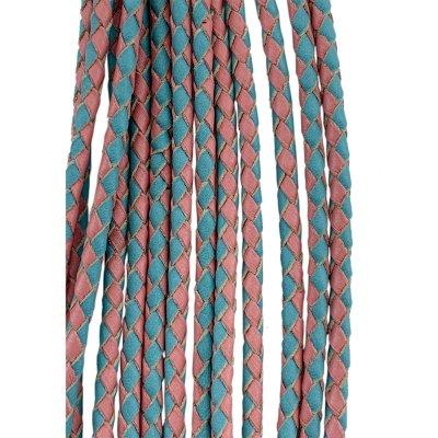 Кожаный плетеный шнур Ultra Sky 3.0 мм Бирюзово-Розовый 09