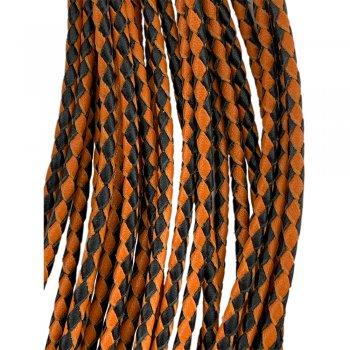 Кожаный плетеный шнур   3.0 мм Черно-Оранжевый 19   4-х полосный   UltraSky