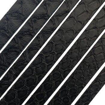 Полоса из кожи питона 10х2 мм (25 см) Черный Мат 01