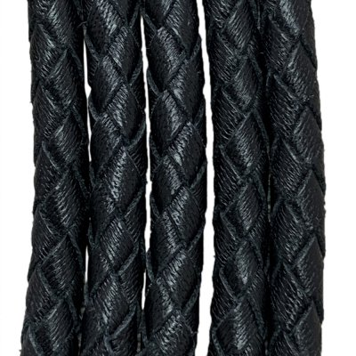 Кожаный плетеный шнур 5.0 мм Кенгуру Черный 01 Ultra Sky