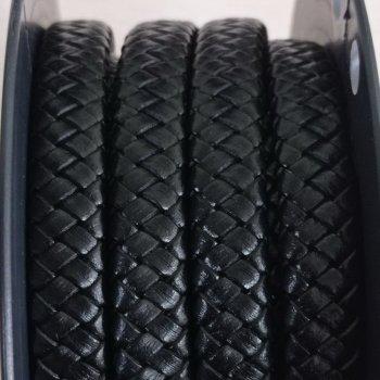 Плоский кожаный плетеный шнур 12х6 мм Черный 01