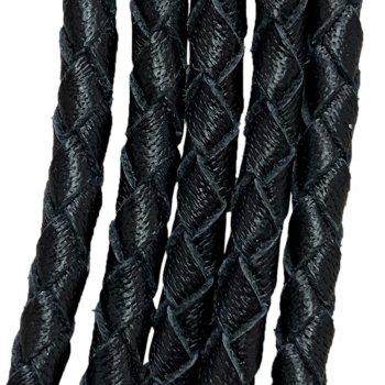 Кожаный плетеный шнур 4.0/4 мм Кенгуру Черный Ultra Sky