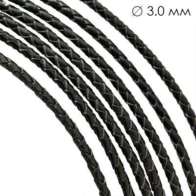 Кожаный плетеный шнур Ultra Sky 3.0 мм Черный 01