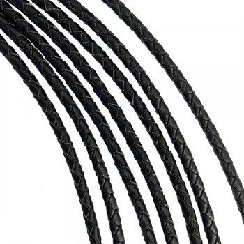 Кожаный плетеный шнур Ultra Sky 3.5 мм Черный 01