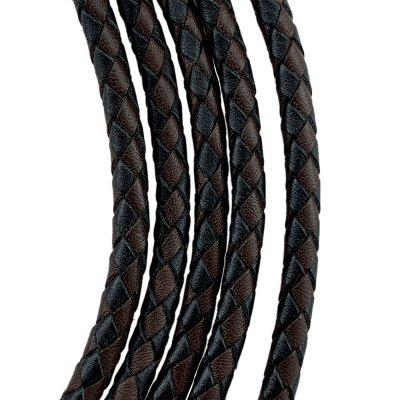 Кожаный плетеный шнур Ultra Sky 5.0 мм Черно-Коричневый 03