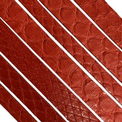 Полоса из кожи питона 10х2 (25 см) мм Красный 08