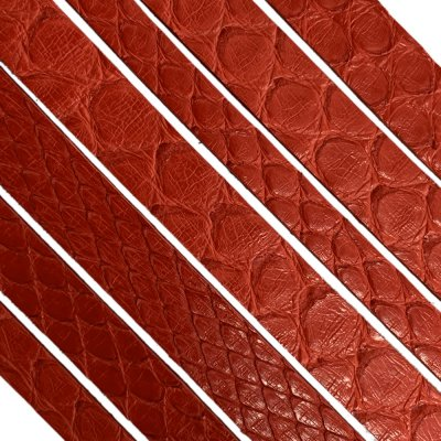 Полоса из кожи питона 8х2 мм (25 см) Красный 08