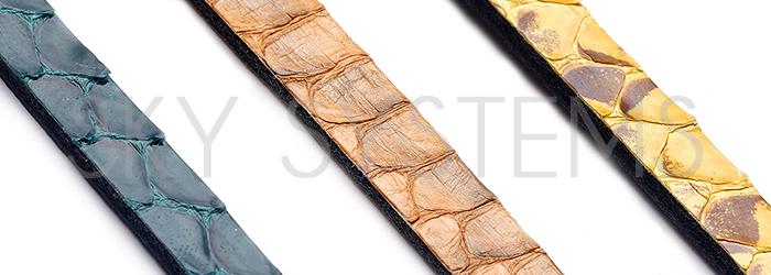 Кожа речной змеи в полосках шириной 6 мм